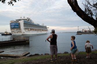 The Ruby Princess departs Port Kembla on Thursday.