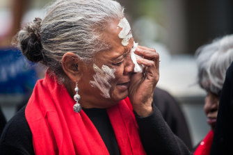 Raymond Noel's mother Debbie Thomas grieves for her son outside the court on Friday.