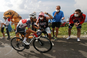 Richie Porte climbs the Loze pass during Wednesday's stage 17.