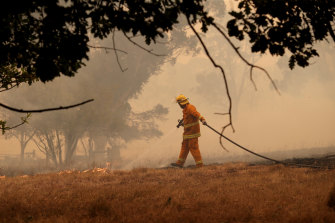 A firefighter in the Adelaide Hills on Friday.