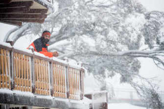 Anton Grimus, a former Winter Olympian, on a snowy Mt Buller on Friday. Villagers are waiting hear if the resort will be able to operate this season.