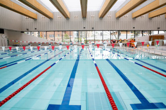 The indoor pool has a moveable floor that can be lowered to a depth of two metres.