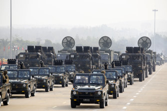 Military vehicles parade on Armed Forces Day in Myanmar's capital Naypyitaw on Saturday.