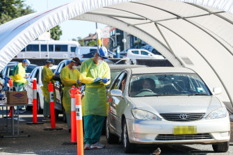 Drive-through coronavirus testing at Bondi Beach in April.