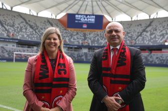Wanderers chief executive John Tsatsimas and Natalie Wright, the director of the NSW Office of Responsible Gambling.