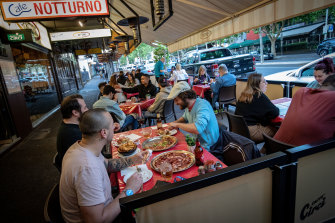 Melburnians flocked to ailing Lygon Street after restrictions were eased on the weekend.