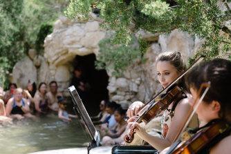 Rathdowne String Quartet perform at the Peninsula Hot Springs.