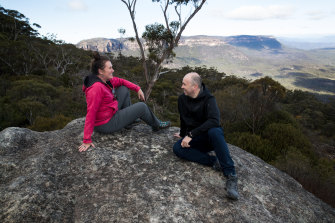 Bipartisan buddies: NSW Environment Minister Matt Kean with Trish Doyle at one of the lookout points within the new Ngula Bulgarabang Regional Park, formerly known to locals as the Radiata Plateau.