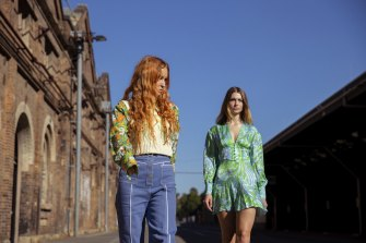 Alice McCall  and model Frankie wearing Alice McCall Resort 21.