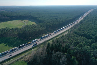Trucks on the A12 highway were backed up for more than 60km near Germany's border with Poland.