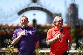 Denis Pagan, left, and Kevin Sheedy, right, will coach rival teams at Flemington's Rapid Racing meeting.