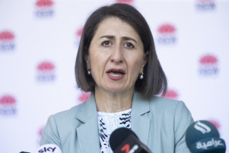 Premier Gladys Berejiklian provides a COVID 19 update on Monday.