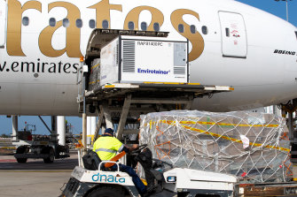 Some 300,000 doses of the Oxford-AstraZeneca vaccine arrive at Sydney International airport on February 28.