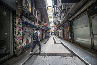 Melbourne's famed laneways are a virtual no-go zone under lockdown.