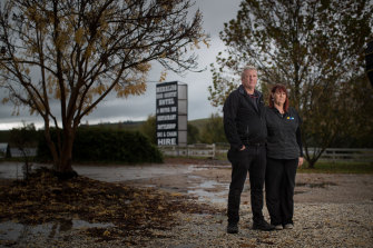Mike and Mandy Aistrope, husband and wife owners of Merrijig Motor Inn at the foot of Mount Buller.