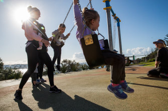 Children at Marks Park were back on the swings for the first weekend of reopening the playgrounds.