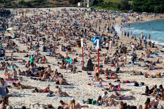 Coogee beach was packed on Sunday as temperatures pushed up to 25 degrees.