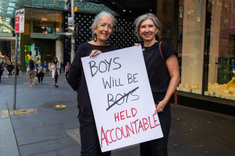 Margaret Donnellan and Cathy Corry at the Sydney's March 4 Justice event.
