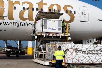 The first of the Oxford University-AstraZeneca arrived at Sydney Airport on Sunday.