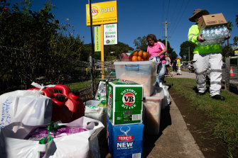 Water, beer, fruit and bread are among the supplies.