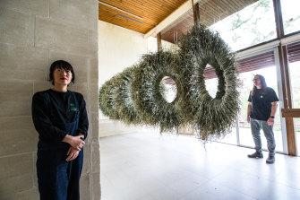 Artists Wona Bae and Charlie Lawler at Heide.
