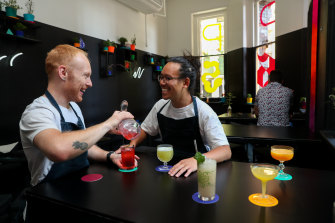 PS40 bartender Peter Seabrook and owner Michael Chiem making non-alcoholic cocktails.