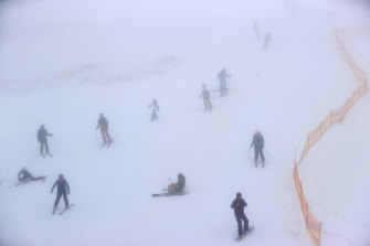 Foggy conditions didn't stop the Bourke Street slope at Mt Buller from being packed on Saturday. The resort is open for the season, with regional Victorians permitted to travel to the area.