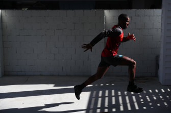 The Suns' Touk Miller trains at home.
