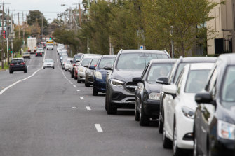 Wait times exceeded two hours at testing sites across Melbourne on Tuesday.