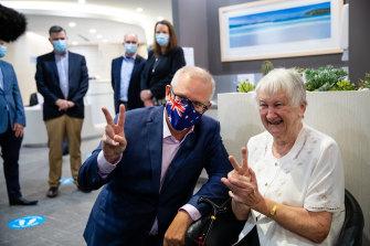 Prime Minister Scott Morrison arrives to receive his second Pfizer dose.