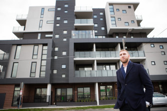 Unison chief executive James King at the organisation's social housing development in Footscray .