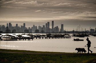 A lone walker at Williamstown on Monday morning.
