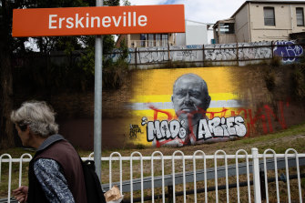 The mural of Resilience NSW Commissioner Shane Fitzsimmons at Sydney's Erskineville station.