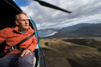 Environmentalist and former Greens senator Bob Brown looks over World Heritage-listed areas of Tasmania from the air.