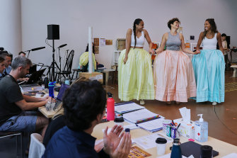 From left: Elandrah Eramiha (Peggy Schuyler), Akina Edmonds (Angelica) and Chloé Zuel (Eliza) in rehearsals for the Sydney production.