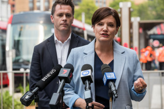 Labor leader Jodi McKay and Chris Minns, then shadow transport minister,  in December 2019.