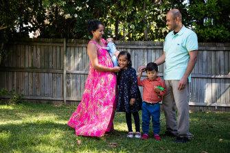 Shameela Karunakaran and Julian Rayappu and their three children, aged 5, 3 and 1. Ms Karunakaram underwent IVF to have her children.