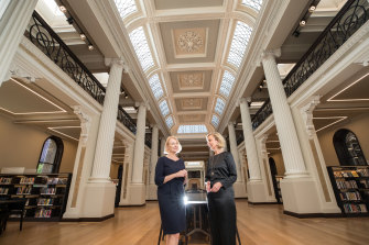 Architect Ruth Wilson and State Library of Victoria CEO Kate Torney in the Queen's Hall.