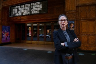 """""""Shared experience of film in cinemas has always been the guiding principle"""": Sydney Film Festival chief executive Leigh Small outside the State Theatre."""