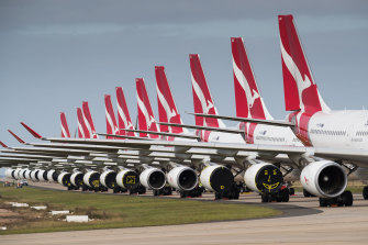Qantas planes grounded at Avalon Airport.