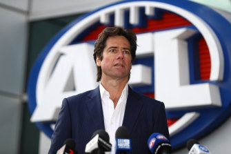 AFL CEO Gillon McLachlan addressed the media outside AFL House on Wednesday.