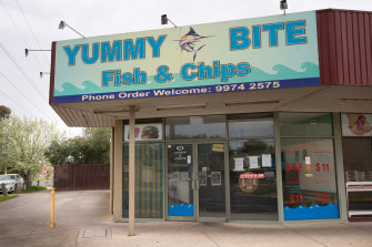 The Yummy Bite fish and chip shop in Werribee on Saturday. The store has been listed as a tier-1 exposure site.