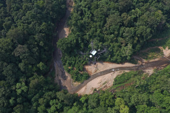 A drone hovering over the Vietnamese rainforest.