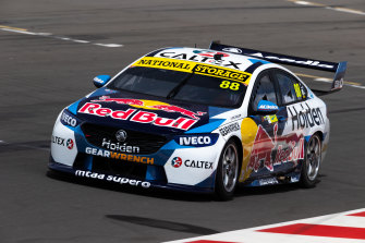 Red Bull Racing's Jamie Whincup drives his Holden in Adelaide on Tuesday.