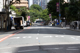Empty streets in Brisbane CBD during Brisbane three-day lockdown.