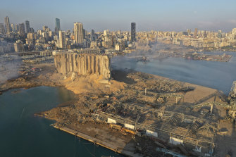 A drone picture shows a huge crater caused by an explosion in Beirut.