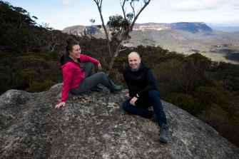 Better a rock and a saved place: Liberal Minister Matt Kean and Labor MP Trish Doyle at the newly acquired Radiata Plateau in the Blue Mountains.
