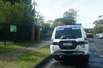 Police attend Byron Bay Public School after a scissors stabbing incidents last year.