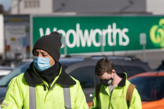 Workers at the Laverton North warehouse on Monday.