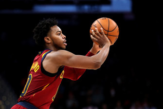 Cleveland's Darius Garland passes against the Washington Wizards.